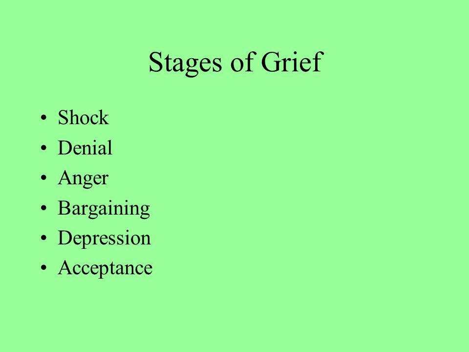 Stages of Grief Shock Denial Anger Bargaining Depression Acceptance