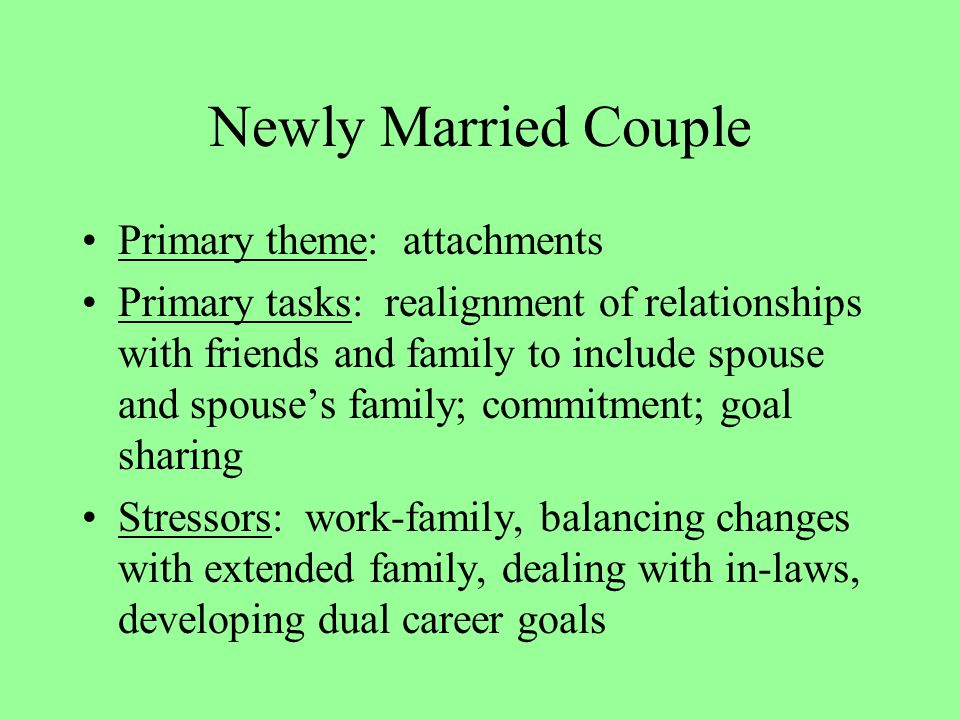 Newly Married Couple Primary theme: attachments Primary tasks: realignment of relationships with friends and family to include spouse and spouse's family; commitment; goal sharing Stressors: work-family, balancing changes with extended family, dealing with in-laws, developing dual career goals