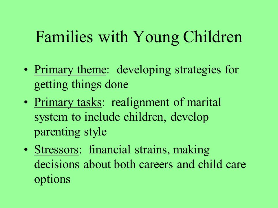 Families with Young Children Primary theme: developing strategies for getting things done Primary tasks: realignment of marital system to include children, develop parenting style Stressors: financial strains, making decisions about both careers and child care options