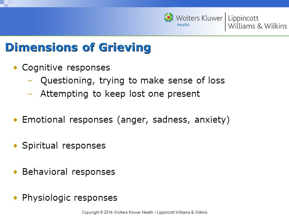 Copyright © 2014 Wolters Kluwer Health | Lippincott Williams & Wilkins Dimensions of Grieving Cognitive responses –Questioning, trying to make sense o