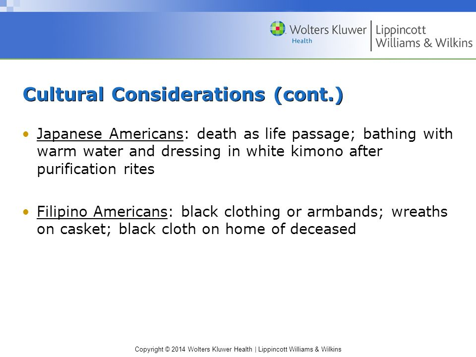 Copyright © 2014 Wolters Kluwer Health | Lippincott Williams & Wilkins Cultural Considerations (cont.) Japanese Americans: death as life passage; bath