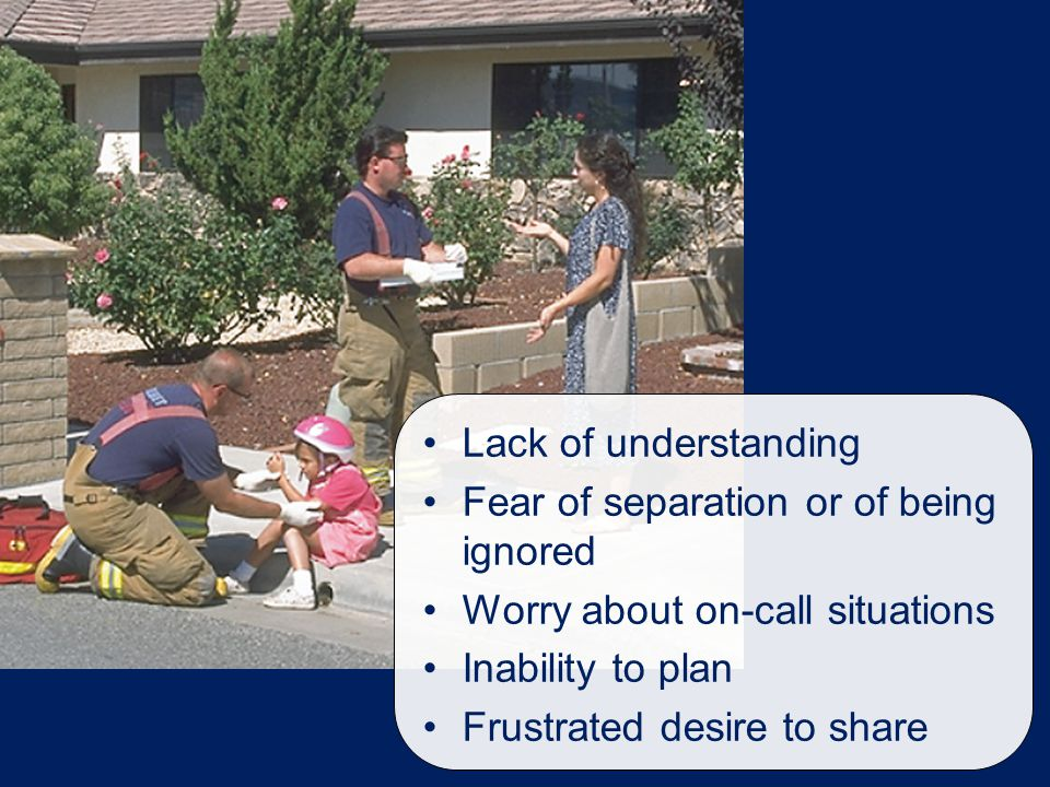 Lack of understanding Fear of separation or of being ignored Worry about on-call situations Inability to plan Frustrated desire to share
