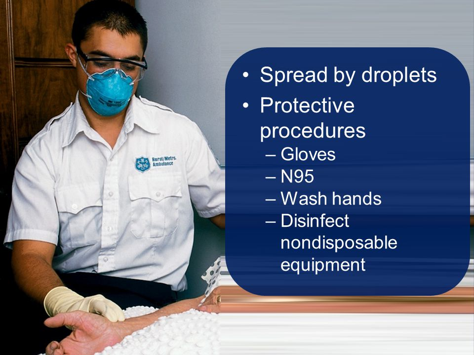 Spread by droplets Protective procedures –Gloves –N95 –Wash hands –Disinfect nondisposable equipment