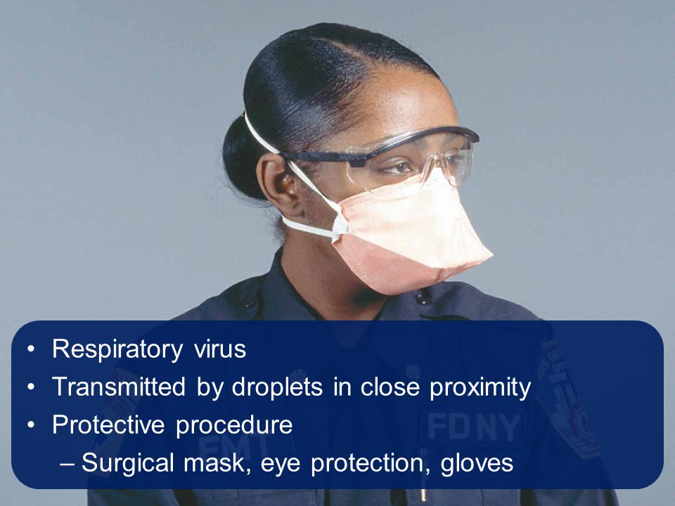 Respiratory virus Transmitted by droplets in close proximity Protective procedure –Surgical mask, eye protection, gloves