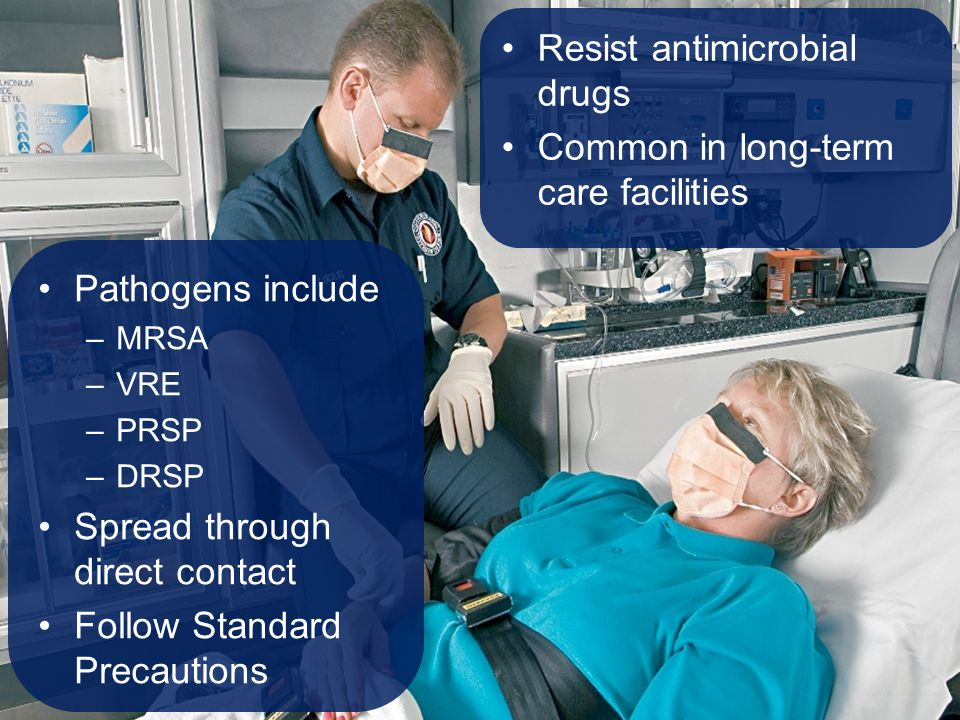 Pathogens include –MRSA –VRE –PRSP –DRSP Spread through direct contact Follow Standard Precautions Resist antimicrobial drugs Common in long-term care
