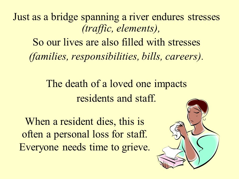 Just as a bridge spanning a river endures stresses (traffic, elements), So our lives are also filled with stresses (families, responsibilities, bills, careers).
