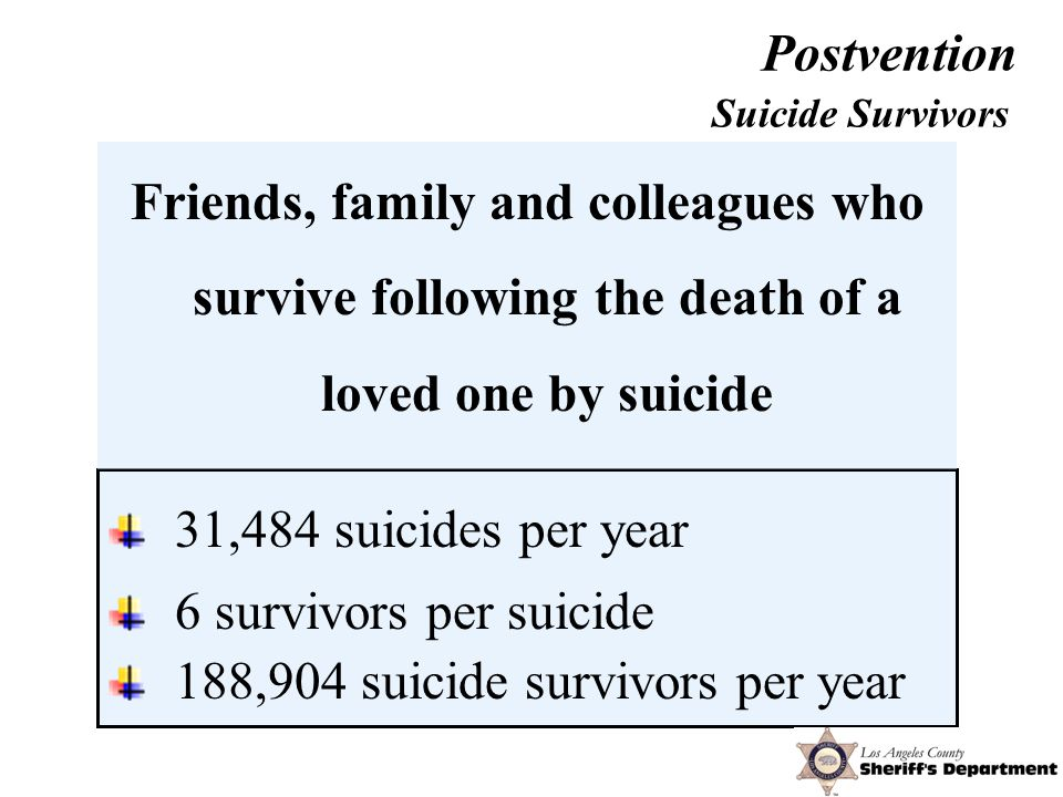 31,484 suicides per year 6 survivors per suicide 188,904 suicide survivors per year Suicide Survivors Friends, family and colleagues who survive following the death of a loved one by suicide Postvention