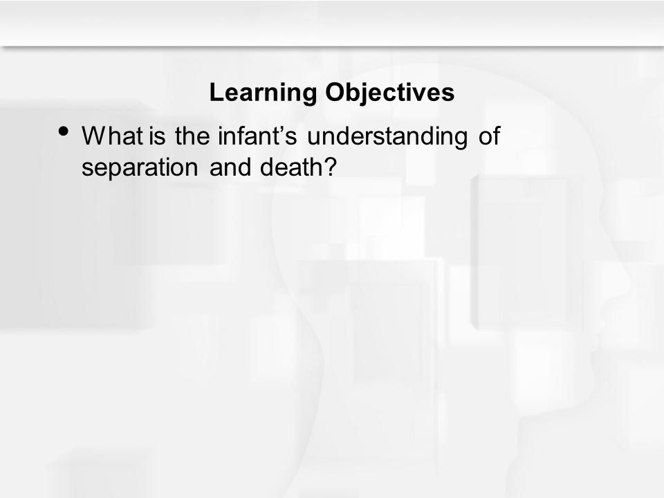 Learning Objectives What is the infant's understanding of separation and death?