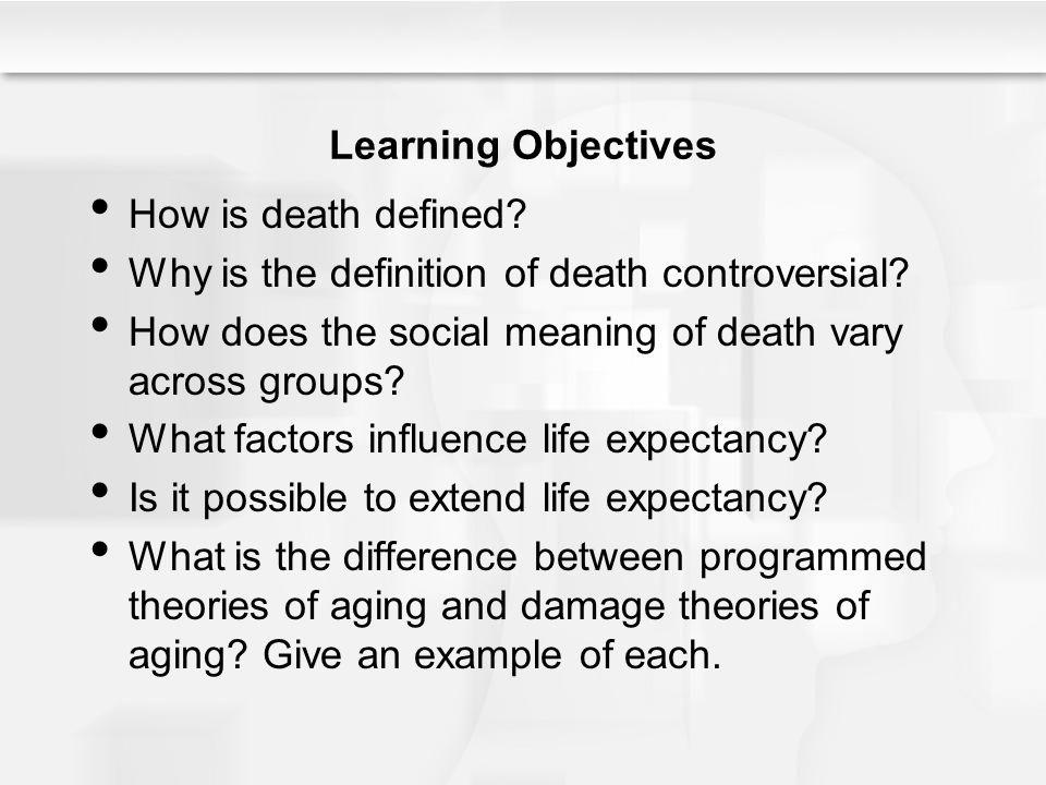 Learning Objectives How is death defined? Why is the definition of death controversial? How does the social meaning of death vary across groups? What