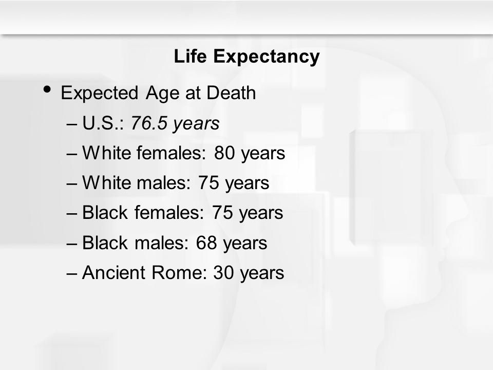 Life Expectancy Expected Age at Death –U.S.: 76.5 years –White females: 80 years –White males: 75 years –Black females: 75 years –Black males: 68 year