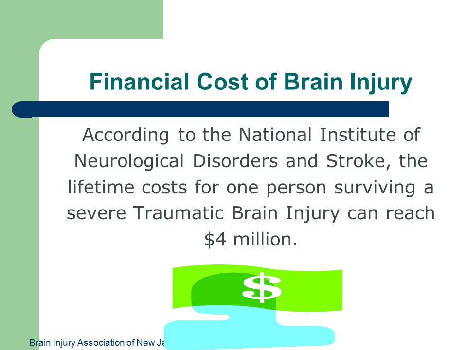 Brain Injury Association of New Jersey Financial Cost of Brain Injury According to the National Institute of Neurological Disorders and Stroke, the lifetime costs for one person surviving a severe Traumatic Brain Injury can reach $4 million.
