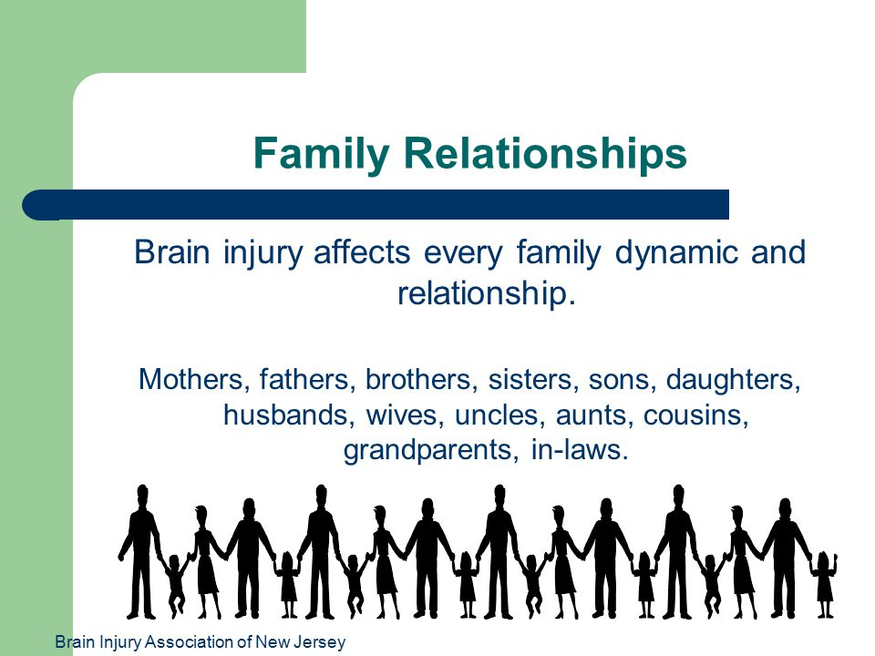 Brain Injury Association of New Jersey Family Relationships Brain injury affects every family dynamic and relationship. Mothers, fathers, brothers, si