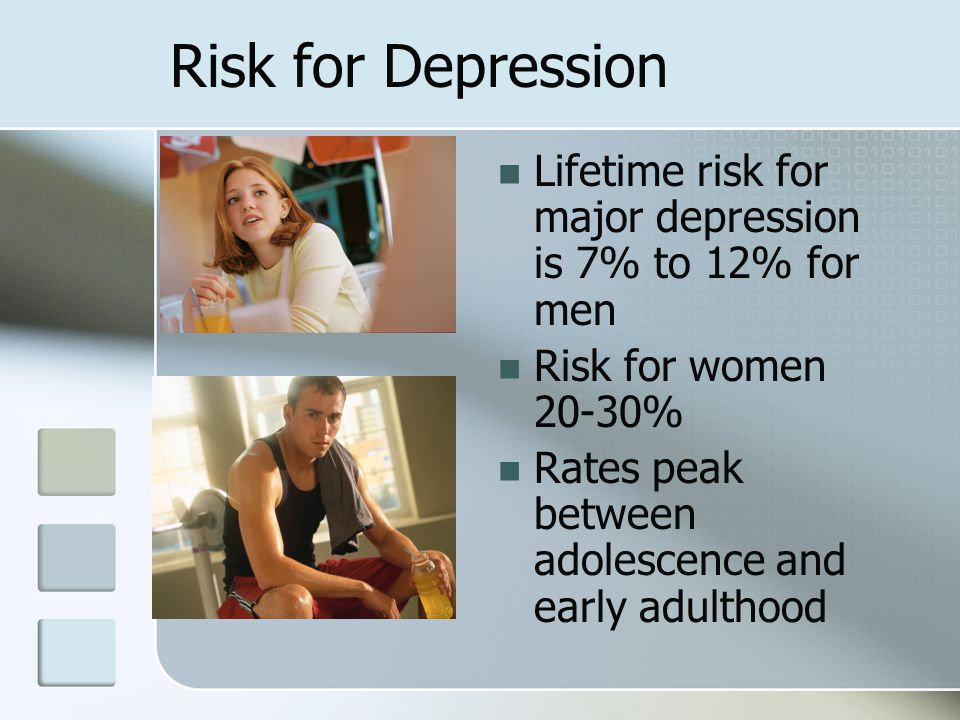 Risk for Depression Lifetime risk for major depression is 7% to 12% for men Risk for women 20-30% Rates peak between adolescence and early adulthood