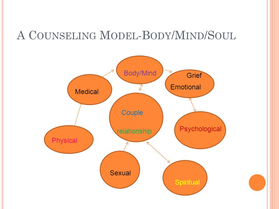 A C OUNSELING M ODEL -B ODY /M IND /S OUL Couple Medical Emotional Psychological Physical Sexual Spiritual Body/Mind relationship Grief