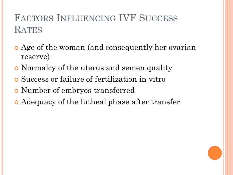 F ACTORS I NFLUENCING IVF S UCCESS R ATES Age of the woman (and consequently her ovarian reserve) Normalcy of the uterus and semen quality Success or failure of fertilization in vitro Number of embryos transferred Adequacy of the lutheal phase after transfer
