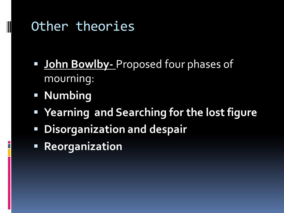 Other theories  John Bowlby- Proposed four phases of mourning:  Numbing  Yearning and Searching for the lost figure  Disorganization and despair  Reorganization