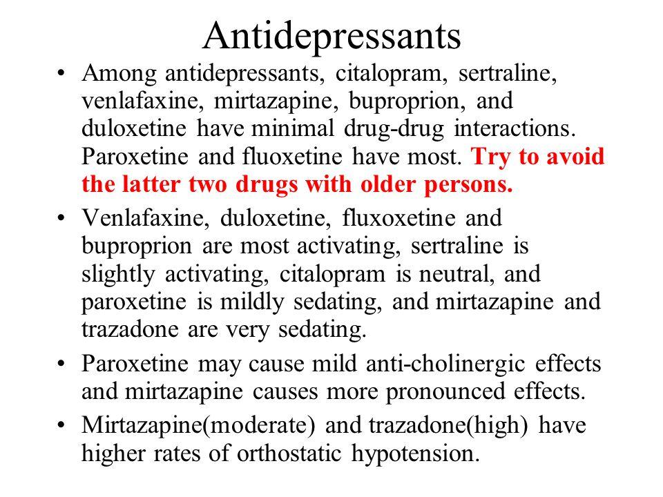 Antidepressants Among antidepressants, citalopram, sertraline, venlafaxine, mirtazapine, buproprion, and duloxetine have minimal drug-drug interactions.