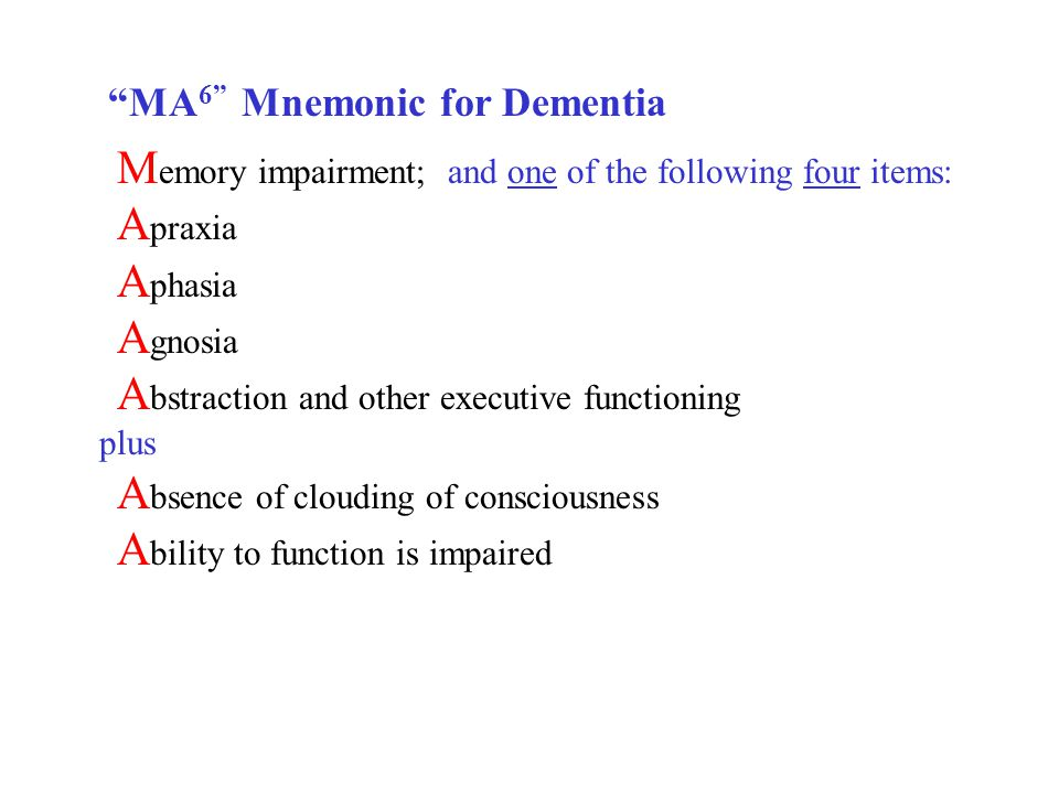 M emory impairment; and one of the following four items: A praxia A phasia A gnosia A bstraction and other executive functioning plus A bsence of clouding of consciousness A bility to function is impaired MA 6 Mnemonic for Dementia