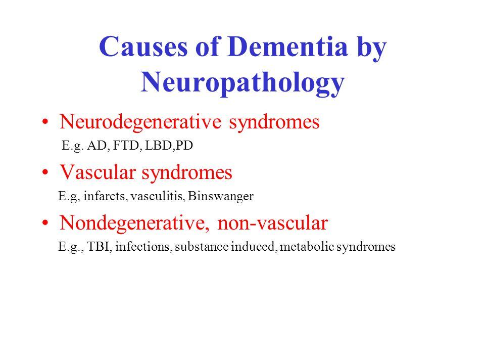 Causes of Dementia by Neuropathology Neurodegenerative syndromes E.g.