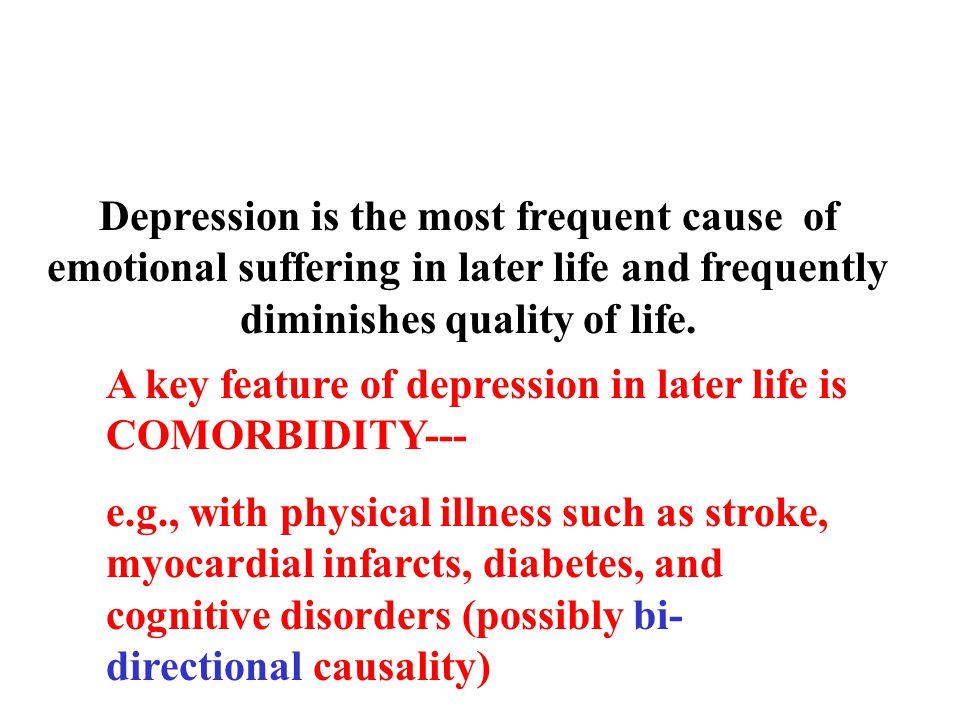 Depression is the most frequent cause of emotional suffering in later life and frequently diminishes quality of life.