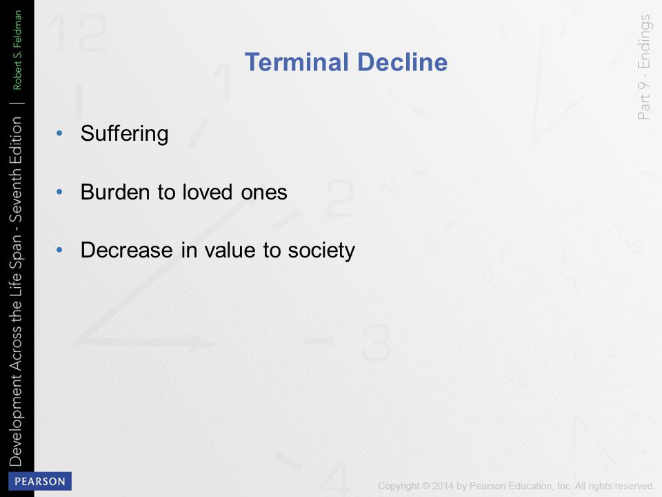 Terminal Decline Suffering Burden to loved ones Decrease in value to society
