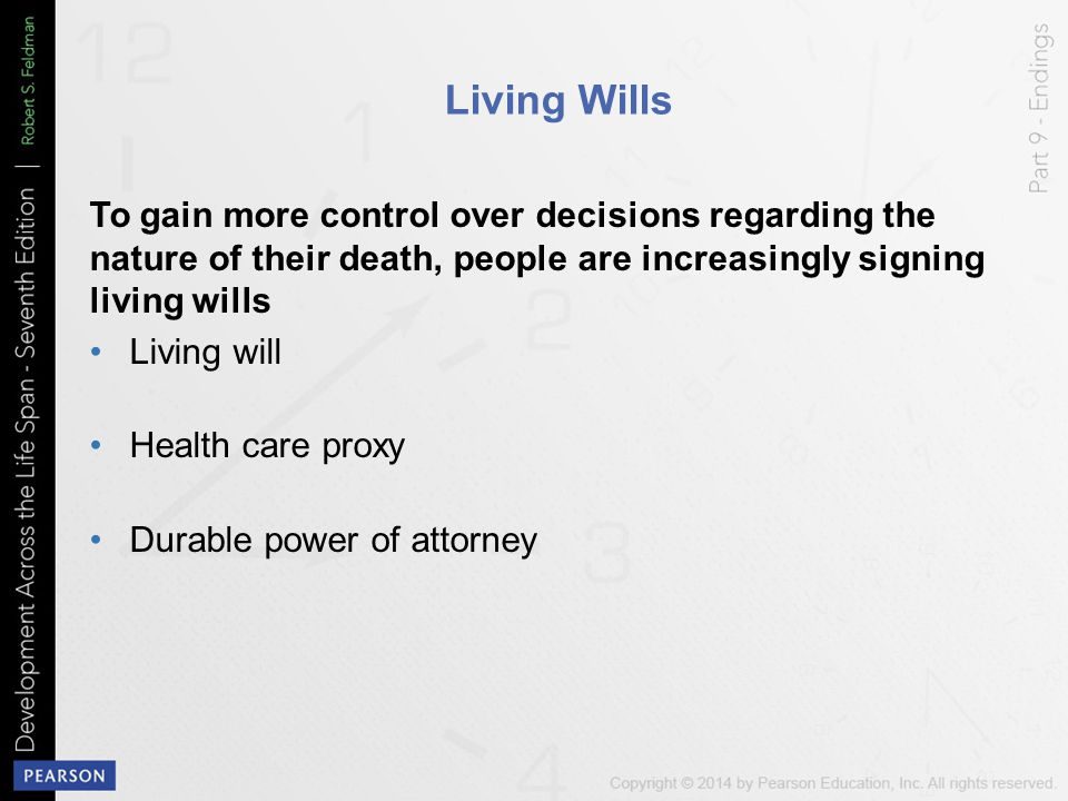 Living Wills To gain more control over decisions regarding the nature of their death, people are increasingly signing living wills Living will Health