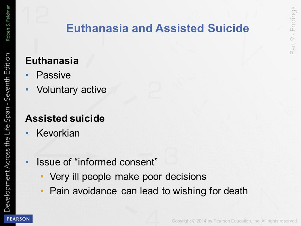 "Euthanasia and Assisted Suicide Euthanasia Passive Voluntary active Assisted suicide Kevorkian Issue of ""informed consent"" Very ill people make poor d"