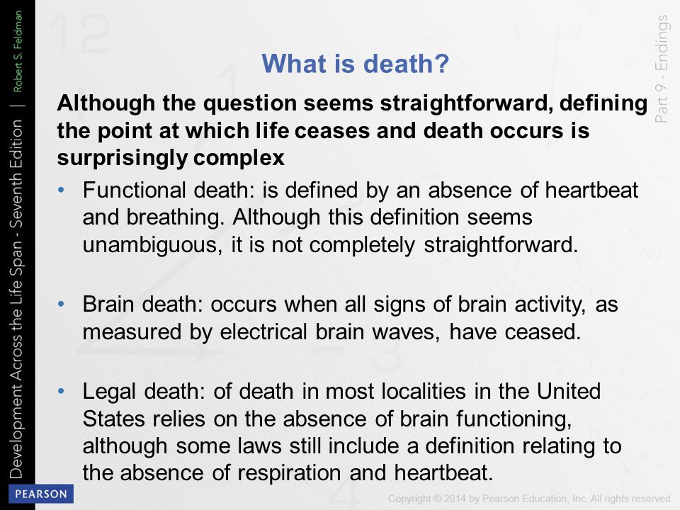What is death? Although the question seems straightforward, defining the point at which life ceases and death occurs is surprisingly complex Functiona