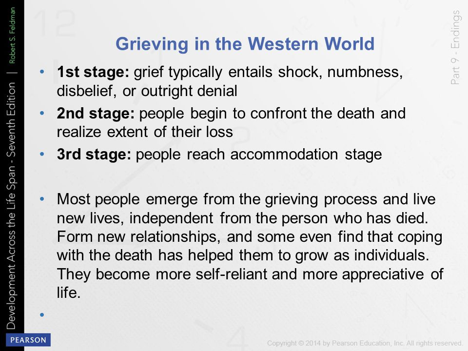 Grieving in the Western World 1st stage: grief typically entails shock, numbness, disbelief, or outright denial 2nd stage: people begin to confront th