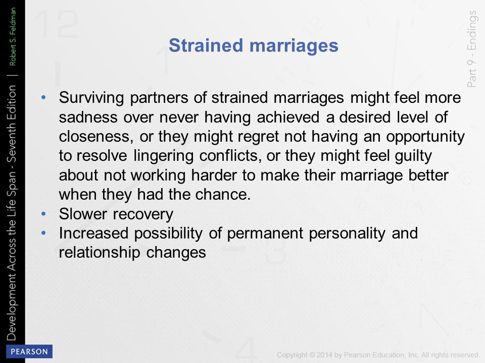 Strained marriages Surviving partners of strained marriages might feel more sadness over never having achieved a desired level of closeness, or they m
