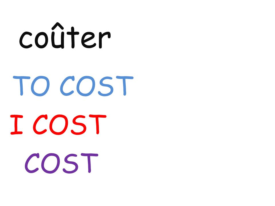 coûter TO COST I COST COST