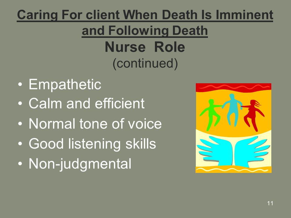 11 Caring For client When Death Is Imminent and Following Death Nurse Role (continued) Empathetic Calm and efficient Normal tone of voice Good listening skills Non-judgmental