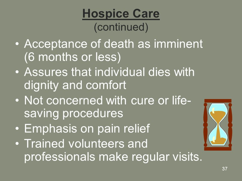 37 Hospice Care (continued) Acceptance of death as imminent (6 months or less) Assures that individual dies with dignity and comfort Not concerned with cure or life- saving procedures Emphasis on pain relief Trained volunteers and professionals make regular visits.