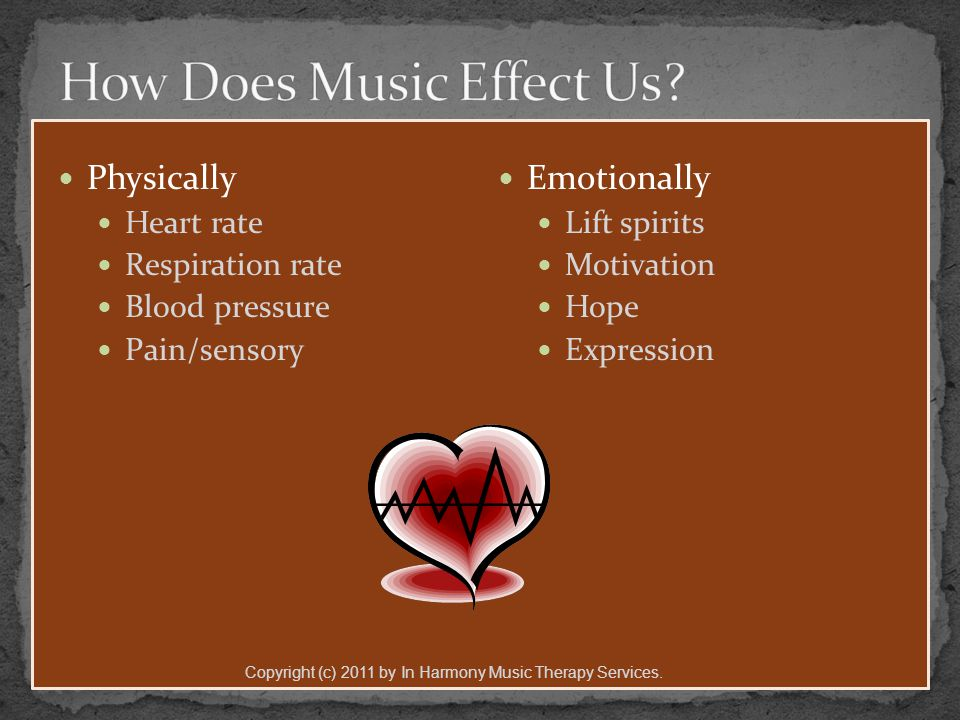 Physically Heart rate Respiration rate Blood pressure Pain/sensory Emotionally Lift spirits Motivation Hope Expression Copyright (c) 2011 by In Harmony Music Therapy Services.