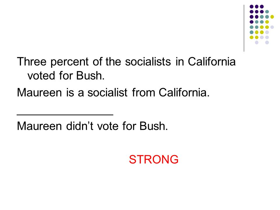 Three percent of the socialists in California voted for Bush.