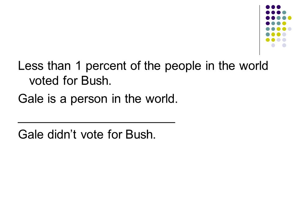 Less than 1 percent of the people in the world voted for Bush.