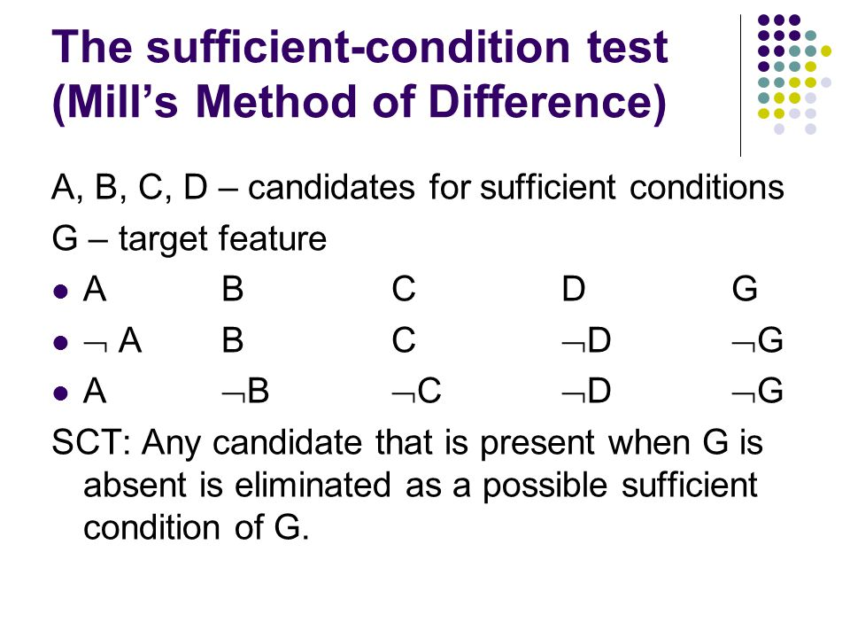 The sufficient-condition test (Mill's Method of Difference) A, B, C, D – candidates for sufficient conditions G – target feature ABC D G  A B C  D  G A  B  C  D  G SCT: Any candidate that is present when G is absent is eliminated as a possible sufficient condition of G.