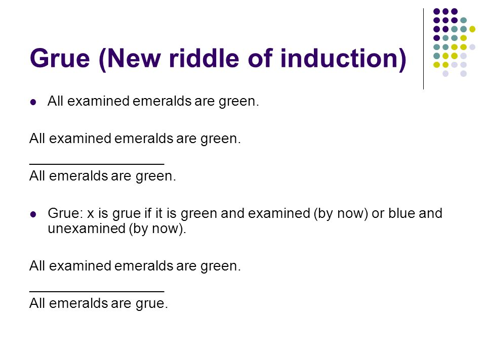 Grue (New riddle of induction) All examined emeralds are green.
