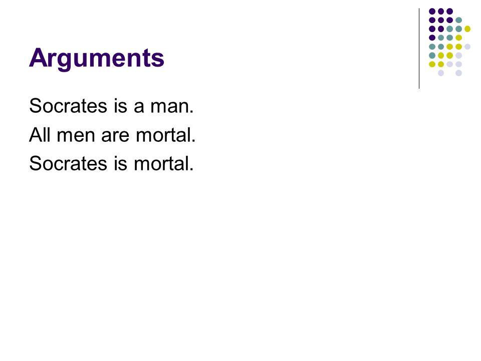 Arguments Socrates is a man. All men are mortal. Socrates is mortal.