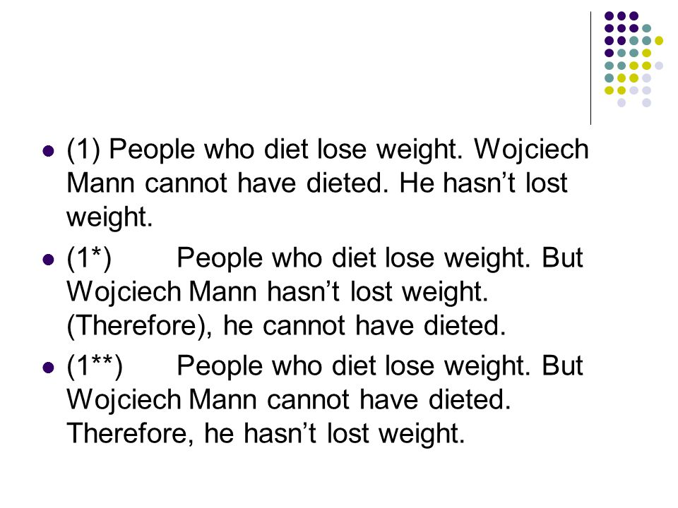 (1)People who diet lose weight. Wojciech Mann cannot have dieted.