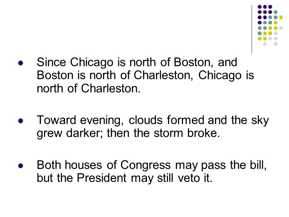 Since Chicago is north of Boston, and Boston is north of Charleston, Chicago is north of Charleston.