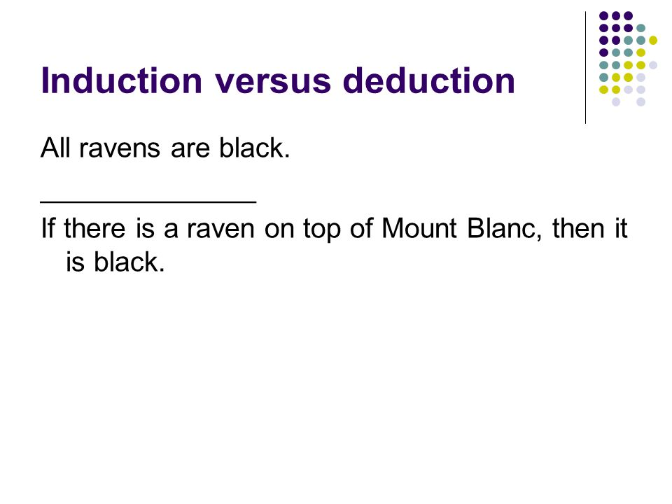Induction versus deduction All ravens are black.