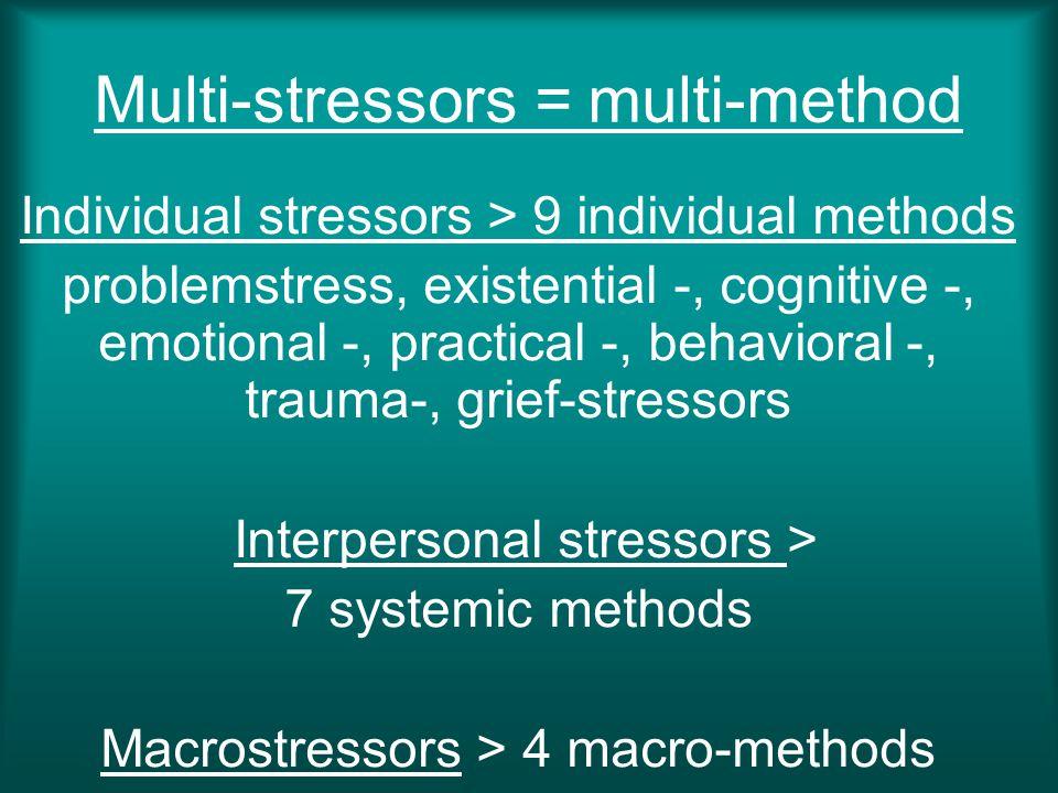 Multi-stressors = multi-method Individual stressors > 9 individual methods problemstress, existential -, cognitive -, emotional -, practical -, behavi
