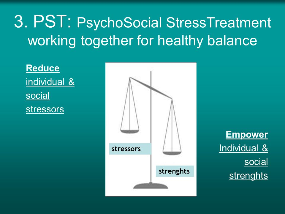 3. PST: PsychoSocial StressTreatment working together for healthy balance Reduce individual & social stressors Empower Individual & social strenghts s