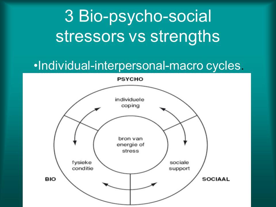 3 Bio-psycho-social stressors vs strengths Individual-interpersonal-macro cycles.