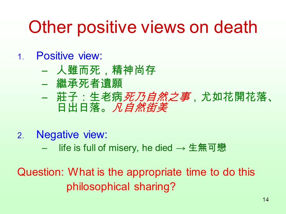 14 Other positive views on death 1.