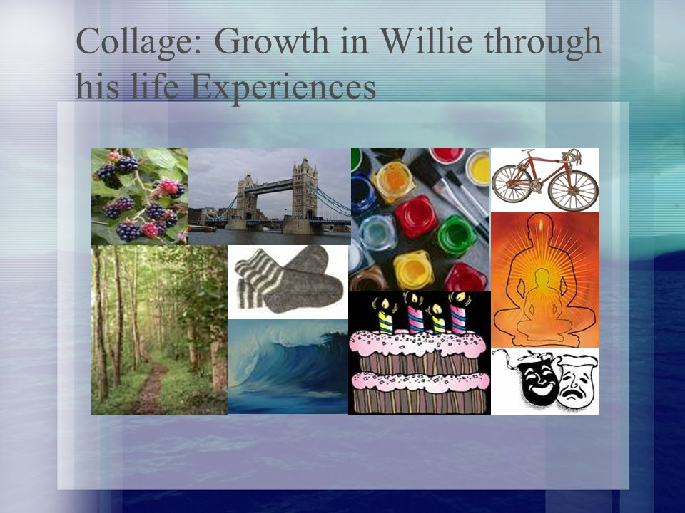 Collage: Growth in Willie through his life Experiences