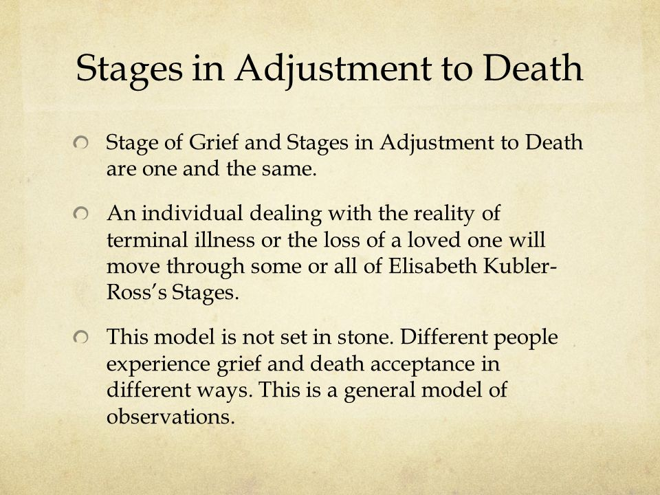 Stages in Adjustment to Death Stage of Grief and Stages in Adjustment to Death are one and the same.