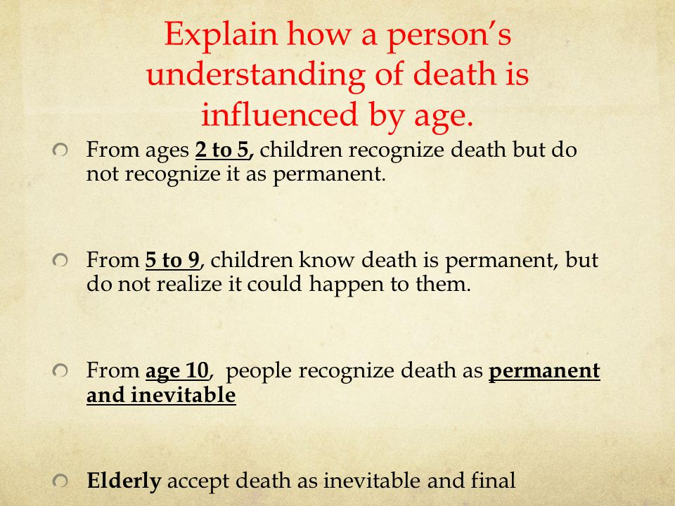 Explain how a person's understanding of death is influenced by age.