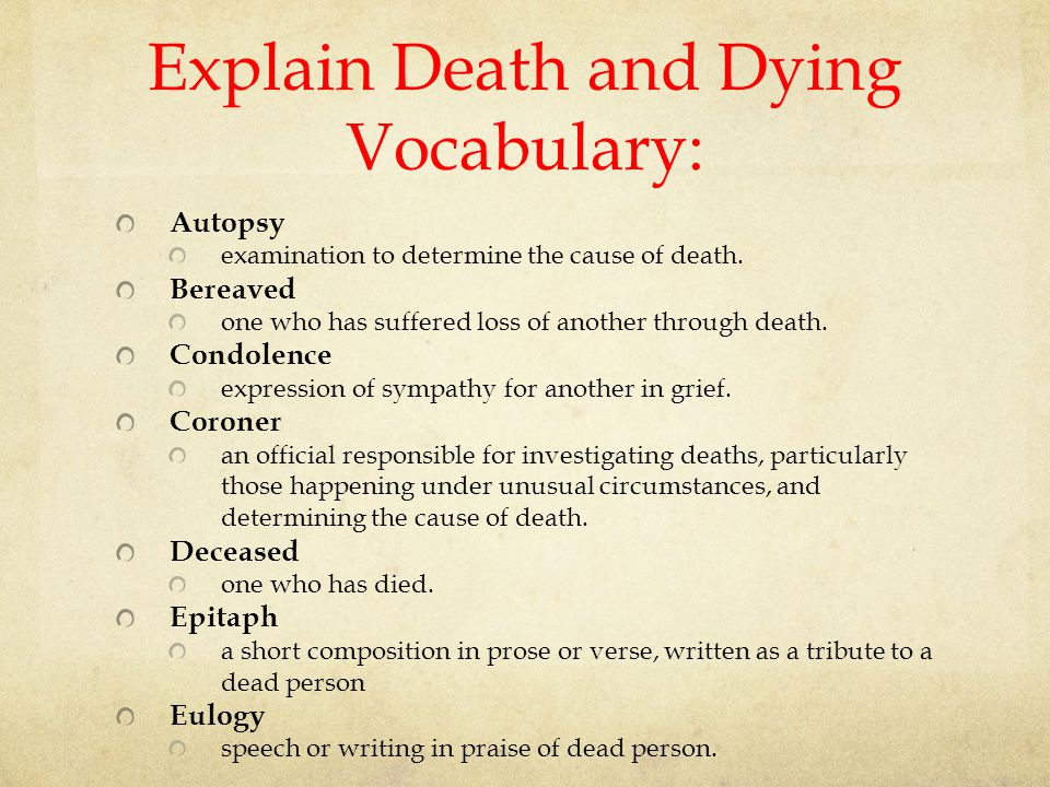 Explain Death and Dying Vocabulary: Autopsy examination to determine the cause of death.